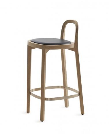 Siro+ Bar Stool - Oak 65cm - leather upholstered seat