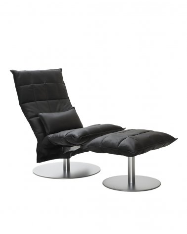leather - black - 46007 narrow swivel k chair / 46017 narrow k ottoman plate / 4605 k cushion
