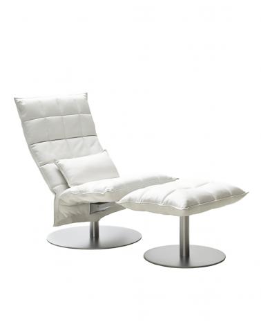 leather - white - 46007 narrow swivel k chair / 46017 narrow k ottoman plate / 4605 k cushion
