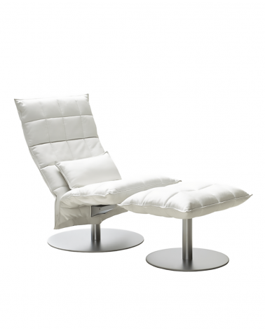 piel - white - 46007 narrow swivel k chair / 46017 narrow k ottoman plate / 4605 k cushion